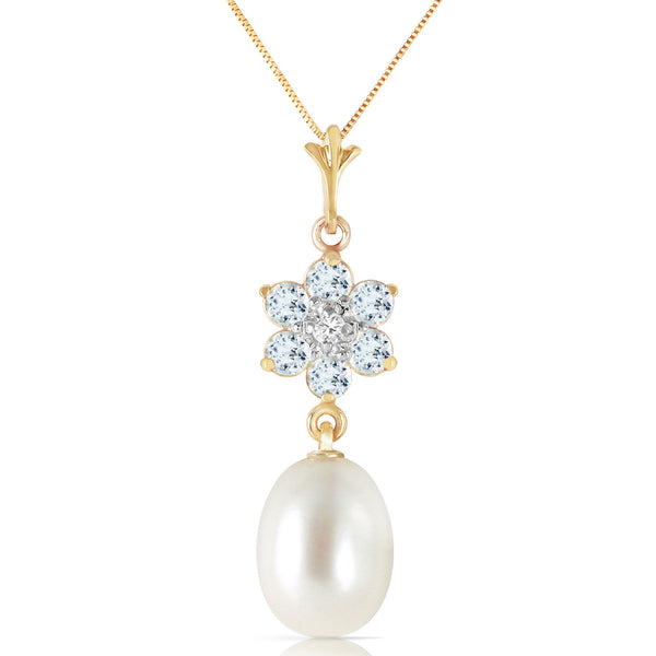 4.53 Carat 14K Gold Necklace Natural Pearl, Aquamarine Diamond