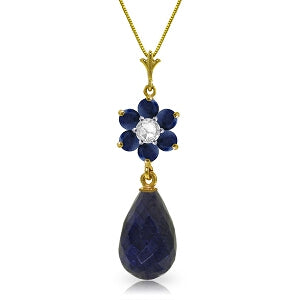 3.83 Carat 14K Solid Yellow Gold New Chapter Sapphire Diamond Necklace