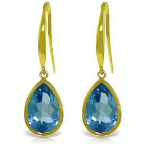 5 Carat 14K Solid Yellow Gold Unstoppable Blue Topaz Earrings
