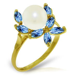 2.65 Carat 14K Solid Yellow Gold Ring Natural Blue Topaz Pearl