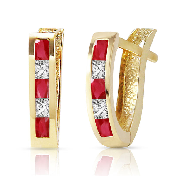 1.26 Carat 14K Solid Yellow Gold Gia Ruby White Topaz Earrings