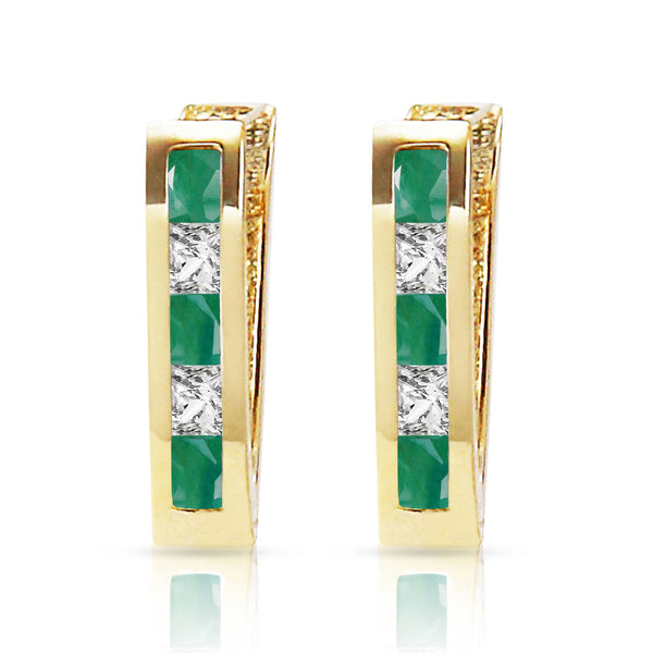 1.26 Carat 14K Solid Yellow Gold Italia Emerald Whote Topaz Earrings