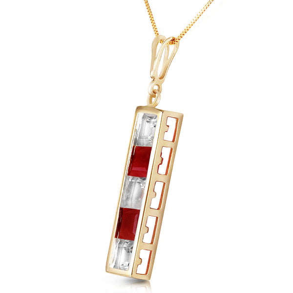 2.35 Carat 14K Solid Yellow Gold Necklace Natural White Topaz Ruby