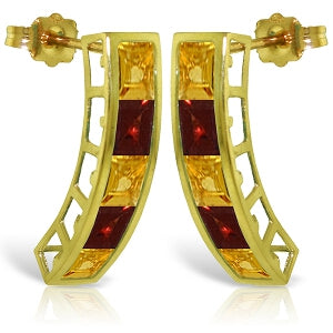 4.5 Carat 14K Solid Yellow Gold Earrings Natural Citrine Garnet
