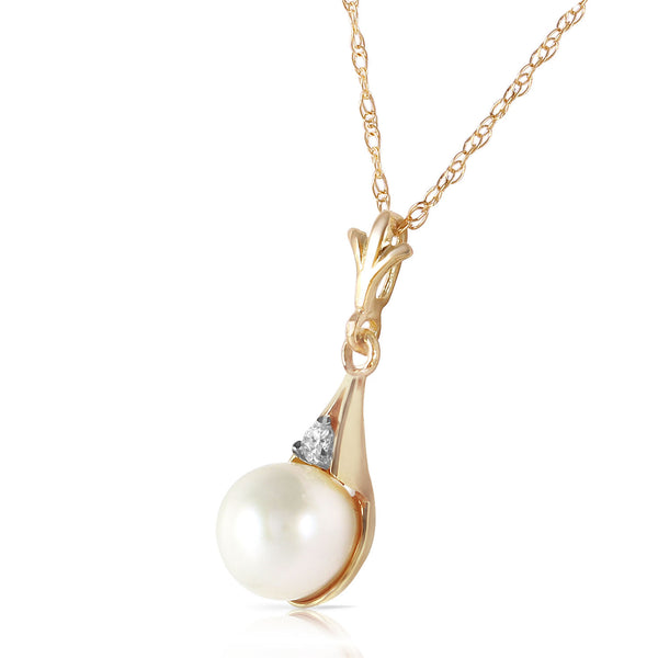 2.03 Carat 14K Solid Yellow Gold Necklace Diamond Pearl
