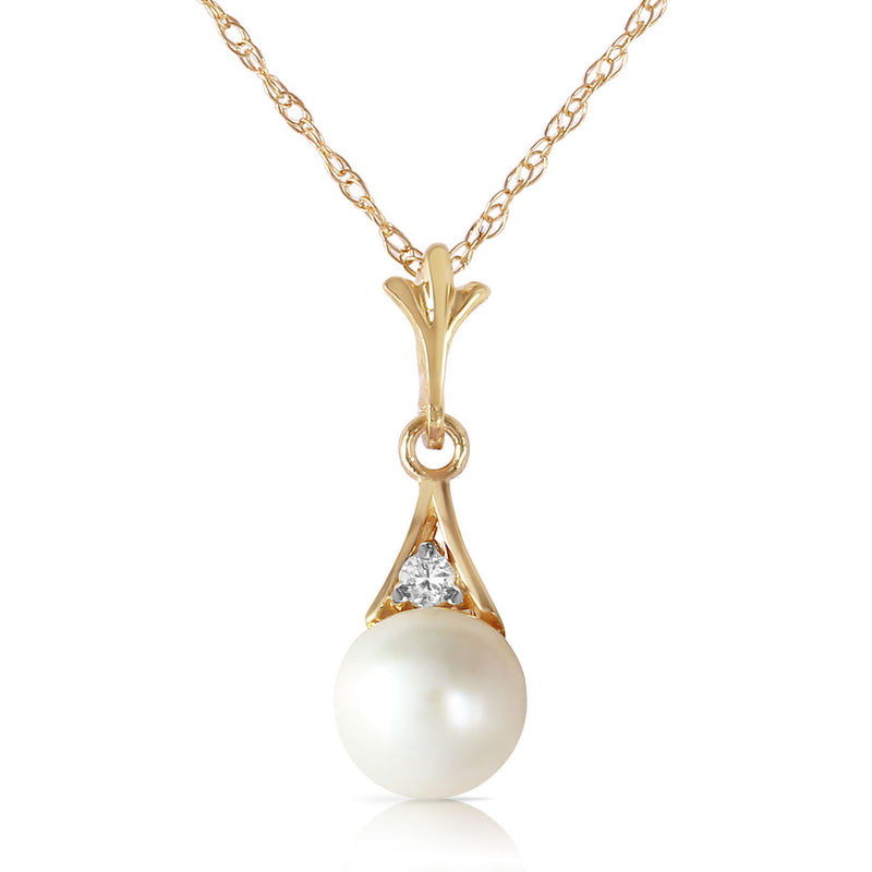 2.03 Carat 14K Gold Necklace Diamond Pearl