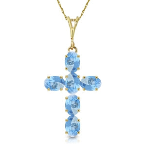 1.5 Carat 14K Solid Yellow Gold Cross Necklace Natural Blue Topaz