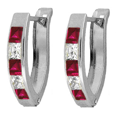 1.6 Carat Sterling Silver Make Forever Created Ruby Earrings