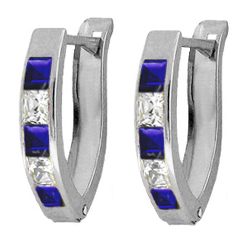 1.6 Carat Sterling Silver Intentional Created Sapphire Earrings