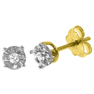 0.06 Carat 14K Solid Yellow Gold Illusion Settings Stud Earrings Diamond