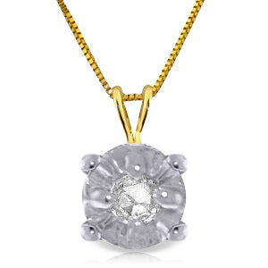 0.03 Carat 14K Solid Yellow Gold Illusion Set Necklace Natural Diamond