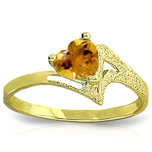 0.95 Carat 14K Solid Yellow Gold Rainbow's Way Citrine Ring