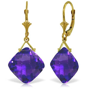 17.5 Carat 14K Solid Yellow Gold Leverback Earrings Checkerboard Cut Amethyst