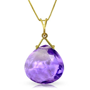 8.5 Carat 14K Solid Yellow Gold Magenta Passion Amethyst Necklace