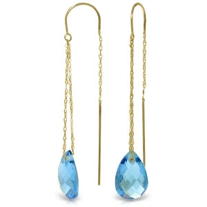 6 Carat 14K Solid Yellow Gold No Apologies Blue Topaz Earrings