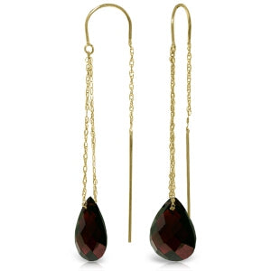 6 Carat 14K Solid Yellow Gold Longtime Friend Garnet Earrings