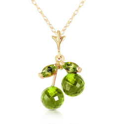 1.45 Carat 14K Solid Yellow Gold Rock The Grass Peridot Necklace