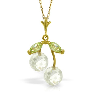 1.45 Carat 14K Solid Yellow Gold La Belle Dame White Topaz Peridot Necklace