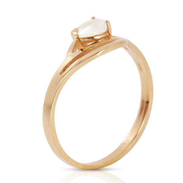0.15 Carat 14K Solid Yellow Gold Ring Natural Opal