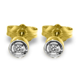 0.03 Carat 14K Solid Yellow Gold Eye Of The Befolder Diamond Earrings