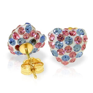 2.65 Carat 14K Solid Yellow Gold Multicolor Cubic Zirconia Heart Stud Earrings