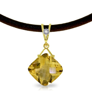 8.76 Carat 14K Solid Yellow Gold Leather Necklace Diamond Citrine