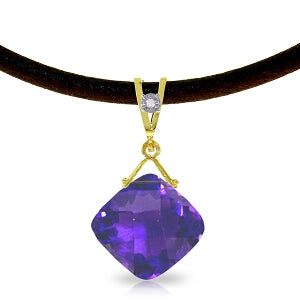 8.76 Carat 14K Solid Yellow Gold Leather Necklace Diamond Purple Amethyst