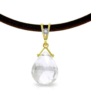 6.51 Carat 14K Solid Yellow Gold Attraction White Topaz Diamond Necklace