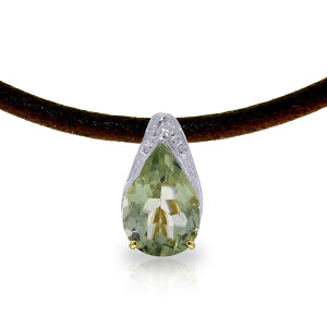 6 Carat 14K Solid Yellow Gold Leather Necklace Green Amethyst