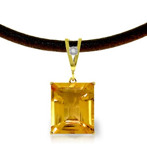 6.51 Carat 14K Solid Yellow Gold Solitude Citrine Diamond Necklace