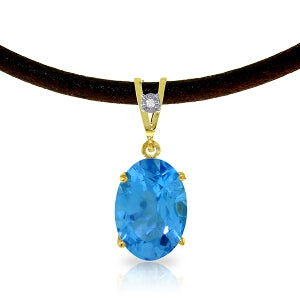 7.56 Carat 14K Solid Yellow Gold Gratitude Blue Topaz Diamond Necklace