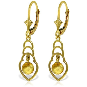 1.25 Carat 14K Solid Yellow Gold Santa Fe Citrine Earrings