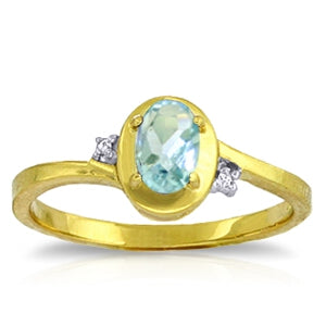 0.51 Carat 14K Solid Yellow Gold Rings Diamond Aquamarine