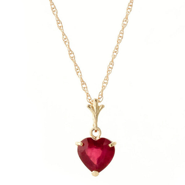 1.45 Carat 14K Solid Yellow Gold Necklace Natural Heart Ruby