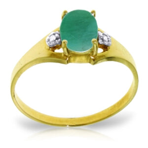 1.26 Carat 14K Solid Yellow Gold Ultrapolished Emerald Diamond Ring
