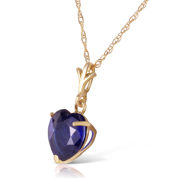 1.55 Carat 14K Gold Necklace Natural Heart Sapphire