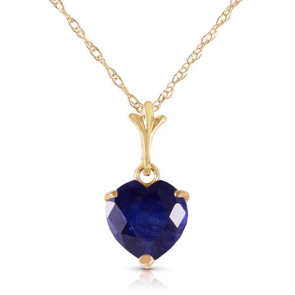 1.55 Carat 14K Solid Yellow Gold Necklace Natural Heart Sapphire