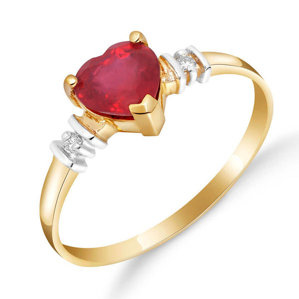 1.03 Carat 14K Solid Yellow Gold Ring Natural Ruby Diamond
