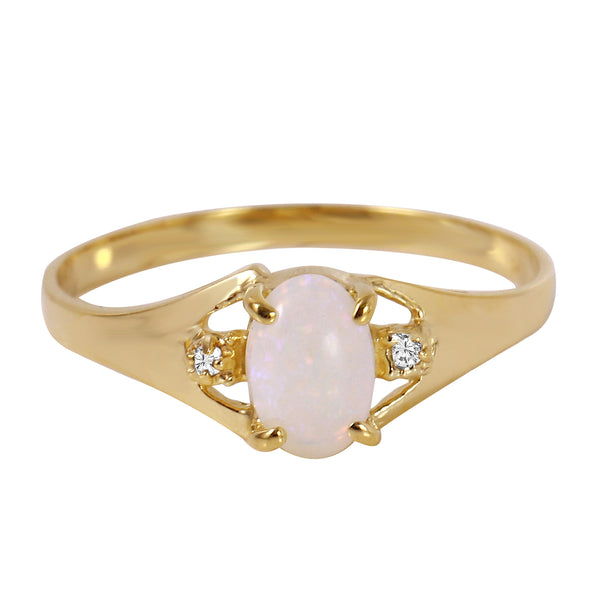 0.46 Carat 14K Solid Yellow Gold Rings Natural Diamond Opal