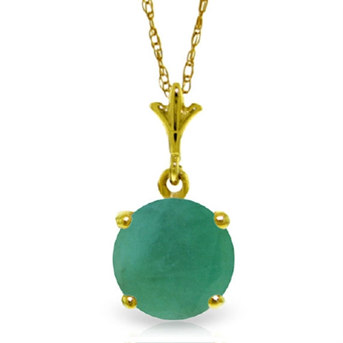 1.65 Carat 14K Solid Yellow Gold You Are Enchanting Emerald Necklace