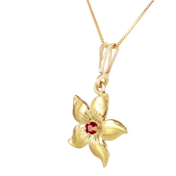 0.1 Carat 14K Solid Yellow Gold Flower Necklace Natural Ruby