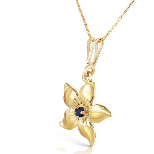 0.1 Carat 14K Solid Yellow Gold Flower Necklace Natural Sapphire