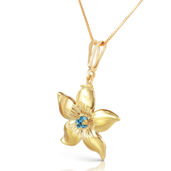 0.1 Carat 14K Solid Yellow Gold Flower Necklace Natural Blue Topaz