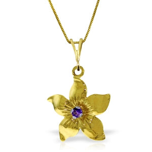 0.1 Carat 14K Solid Yellow Gold Flower Necklace Natural Purple Amethyst