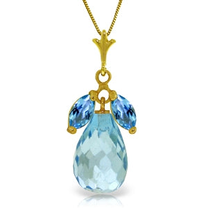 7.2 Carat 14K Solid Yellow Gold Love Potion Blue Topaz Necklace