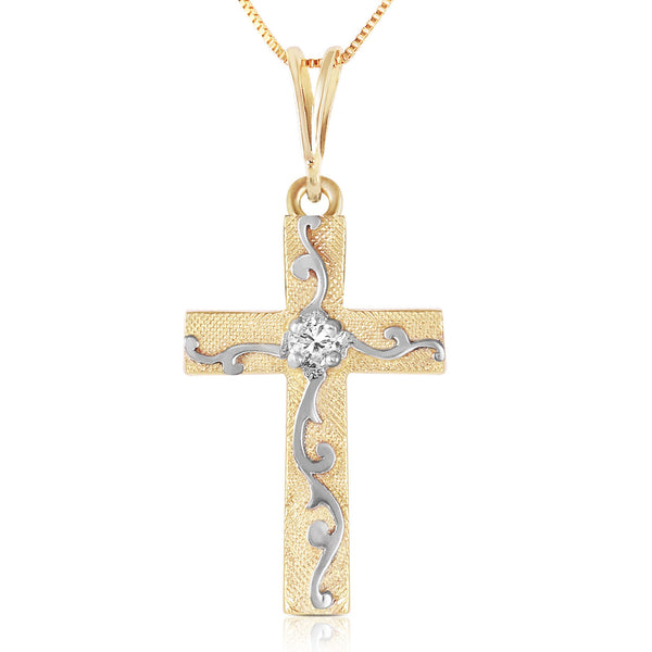 0.05 Carat 14K Solid Yellow Gold Cross Necklace Natural Diamond