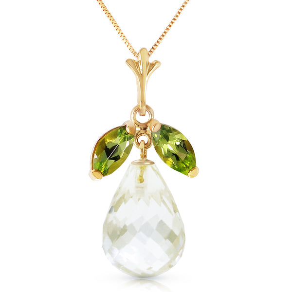 7.2 Carat 14K Gold Necklace Natural Peridot White Topaz