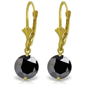 4.75 Carat 14K Solid Yellow Gold Leverback Earrings Black Cubic Zirconia