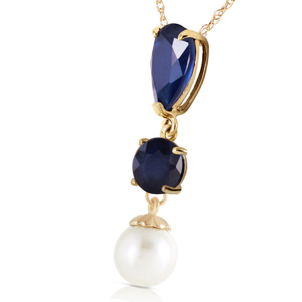 5.05 Carat 14K Gold Stamp Your Love Sapphire Pearl Necklace