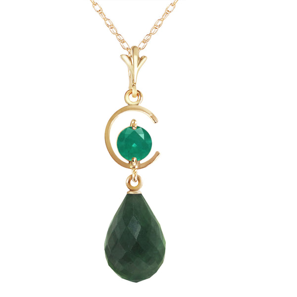 9.3 Carat 14K Solid Yellow Gold Born A Woman Emerald Necklace
